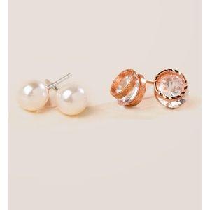 Tatyana Cubic Zirconia Pearl Stud Earring Set